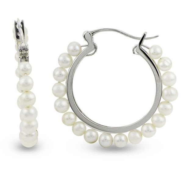 Pearl Sterling Silver Hoop Earring Meigs Jewelry Tahlequah, OK