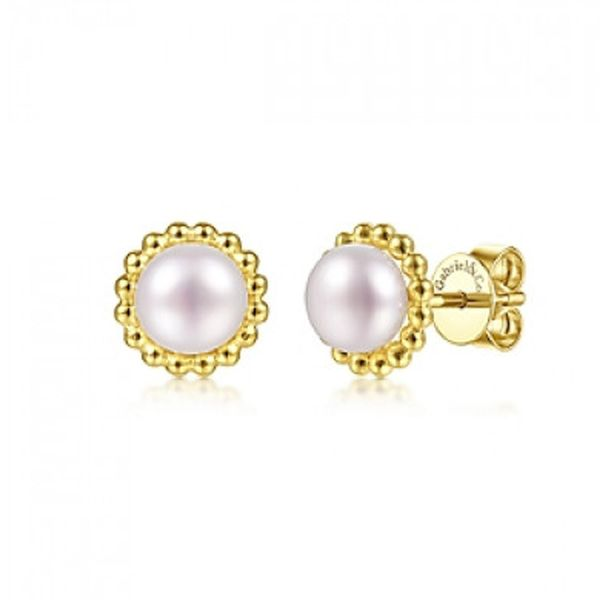 Gabriel & Co. Pearl Frame Stud Earrings Meigs Jewelry Tahlequah, OK