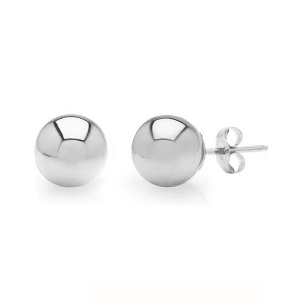 White Gold Ball Stud Earrings Meigs Jewelry Tahlequah, OK