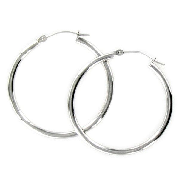 White Gold Polished Hoop Earrings Meigs Jewelry Tahlequah, OK