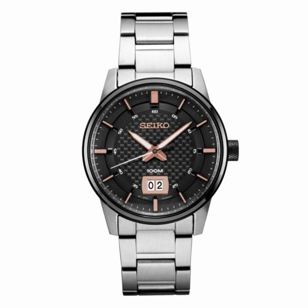 Mens Black Dial Seiko Watch Meigs Jewelry Tahlequah, OK