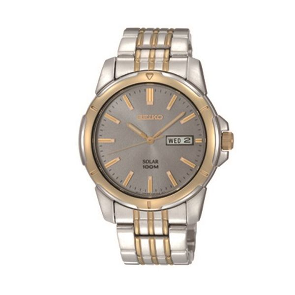 Mens Two Tone Seiko Gray Dial Watch Meigs Jewelry Tahlequah, OK