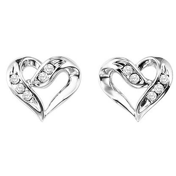 Sterling Silver Diamond Heart Earrings Meigs Jewelry Tahlequah, OK