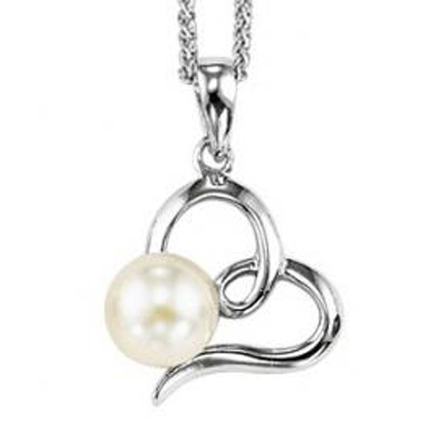 Sterling Silver Heart Pendant with Freshwater Pearl Meigs Jewelry Tahlequah, OK