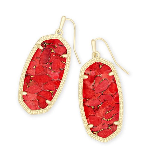 Kendra Scott Elle Gold Drop Earrings In Bronze Veined Red Magnesite Meigs Jewelry Tahlequah, OK