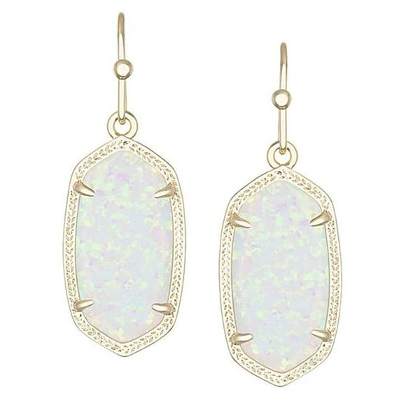 Kendra Scott Dani Gold Drop Earrings In White Kyocera Opal Meigs Jewelry Tahlequah, OK