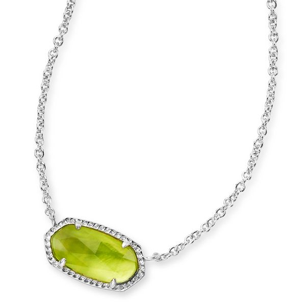 Kendra Scott Elisa Silver Pendant Necklace In Peridot Illusion Meigs Jewelry Tahlequah, OK
