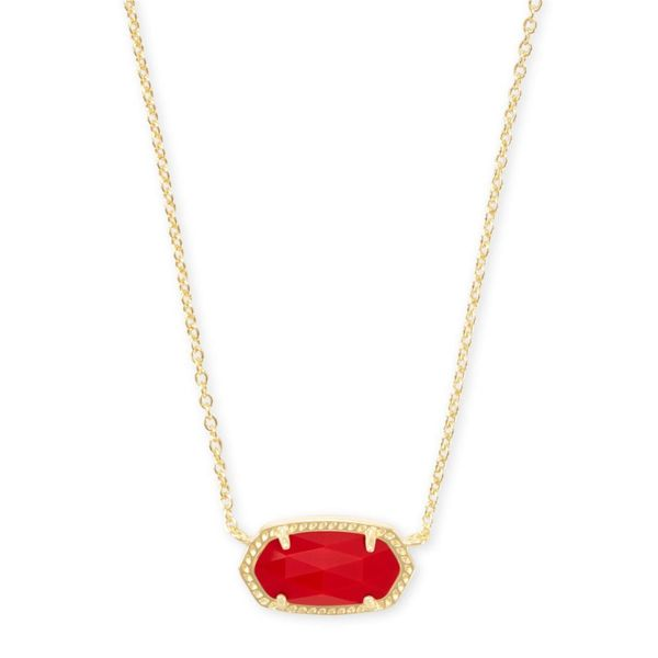 Kendra Scott Elisa Gold Pendant Necklace In Bright Red Opaque Glass Meigs Jewelry Tahlequah, OK