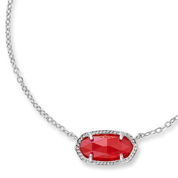 Kendra Scott Rhodium Plated Ruby Elisa Necklace Meigs Jewelry Tahlequah, OK