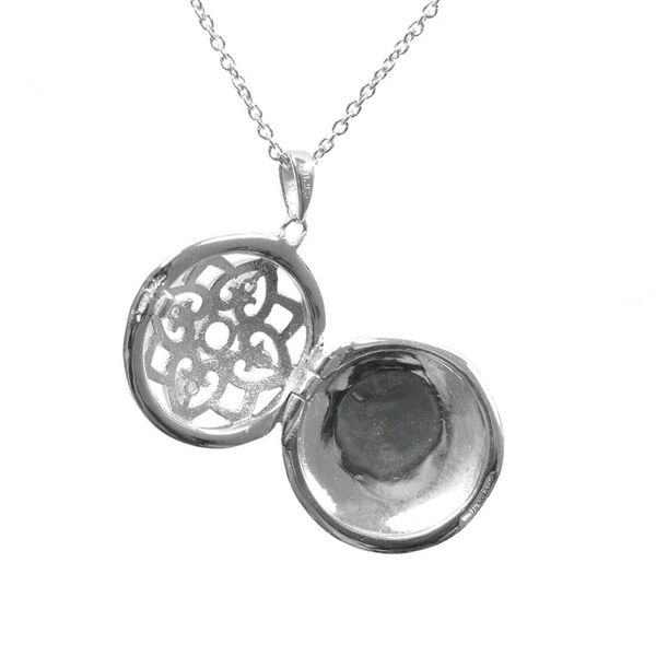 Sterling Silver Round Elsie Locket Necklace Image 2 Meigs Jewelry Tahlequah, OK