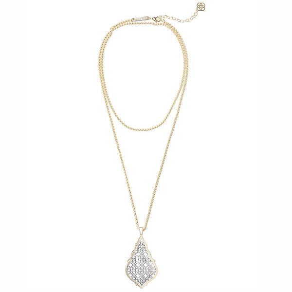 Kendra Scott Aiden Gold Long Pendant Necklace In Silver Filigree Mix Meigs Jewelry Tahlequah, OK