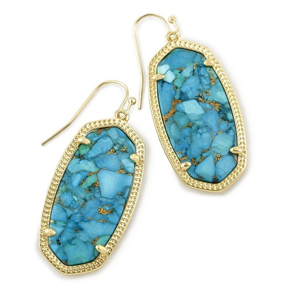Kendra Scott Elle Gold Drop Earrings In Bronze Veined Turquoise Magnesite Meigs Jewelry Tahlequah, OK