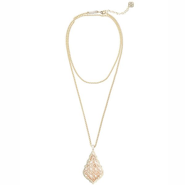 Kendra Scott Aiden Gold Long Pendant Necklace In Rose Gold Filigree Mix Meigs Jewelry Tahlequah, OK
