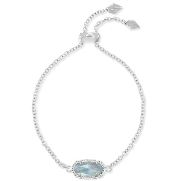 Kendra Scott Elaina Silver Adjustable Chain Bracelet In Light Blue Illusion Meigs Jewelry Tahlequah, OK
