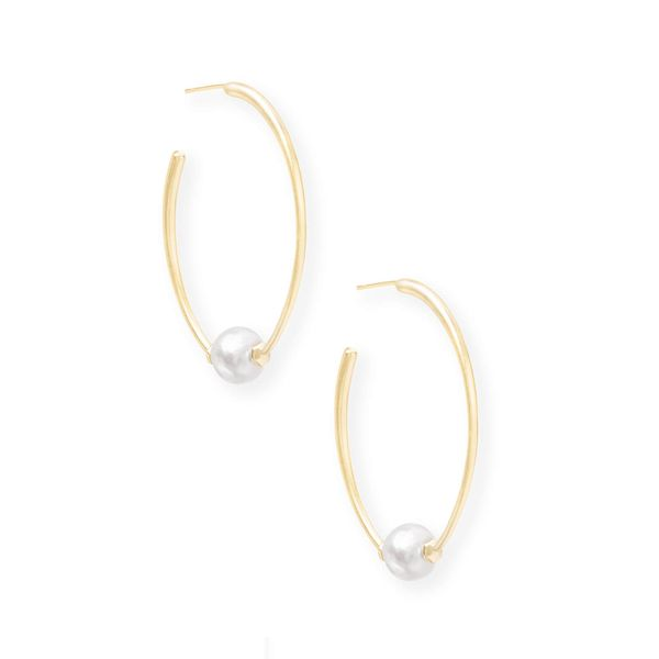 Kendra Scott Regina Gold Hoop Earrings In Pearl Meigs Jewelry Tahlequah, OK