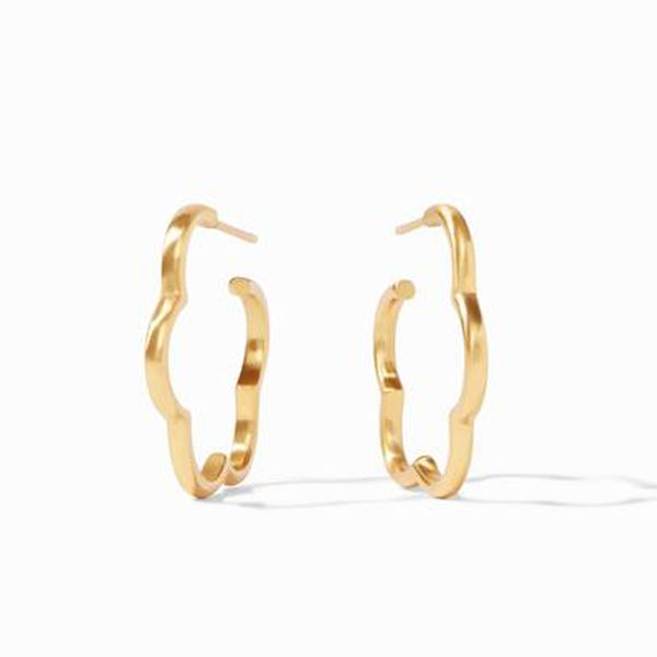 Julie Vos Gold Plated Gardenia Hoop Earrings Meigs Jewelry Tahlequah, OK