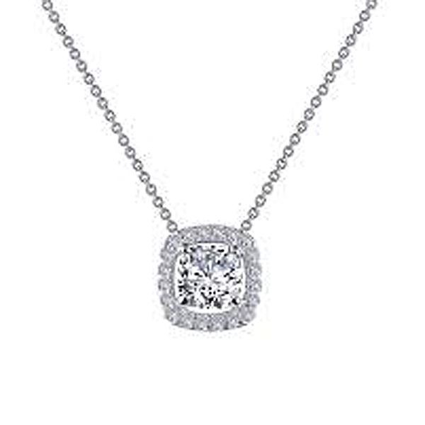 Lafonn Simulated Diamond Cushion Halo Necklace Meigs Jewelry Tahlequah, OK