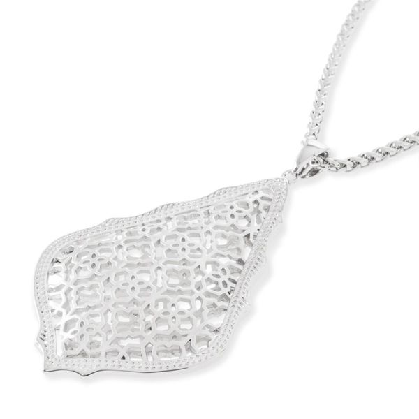 Kendra Scott Aiden Silver Long Pendant Necklace In Silver Filigree Mix Meigs Jewelry Tahlequah, OK