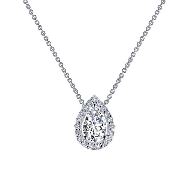 Lafonn Simulated Diamond Pear Halo Necklace Meigs Jewelry Tahlequah, OK