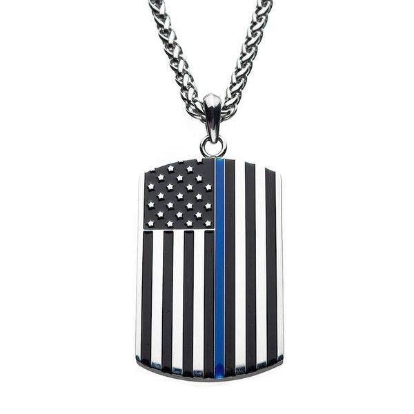 Mens Dog Tag Flag Necklace Meigs Jewelry Tahlequah, OK