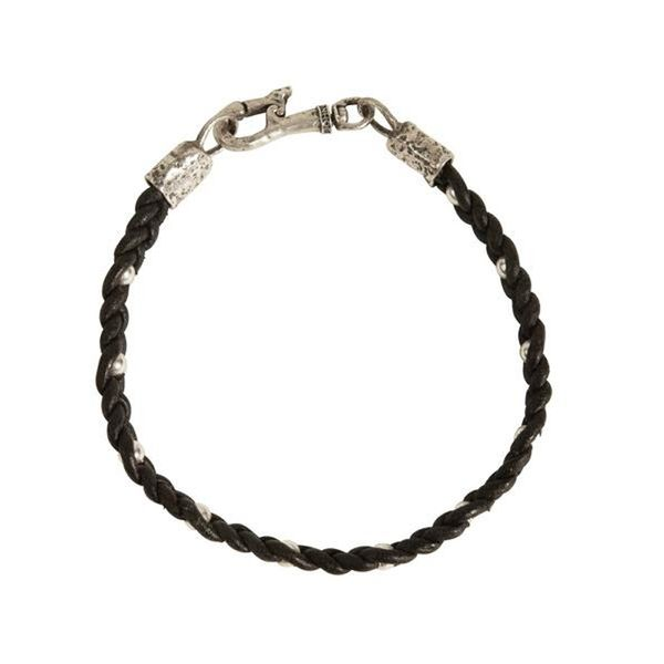 Mens Black Leather Braided Bracelet Meigs Jewelry Tahlequah, OK