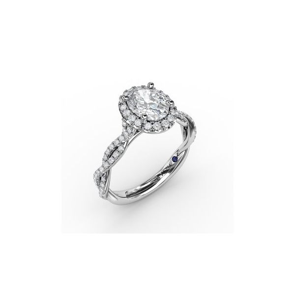 Twist Band Oval Halo Engagement Ring Miner's North Jewelers Traverse City, MI