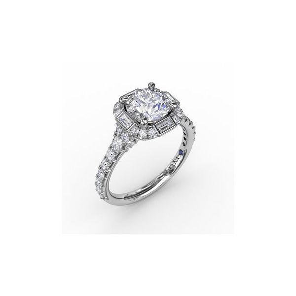 Cushion Halo Engagement Ring With Baguettes Miner's North Jewelers Traverse City, MI