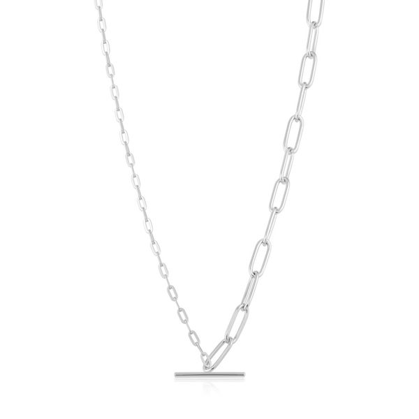 Silver Mixed Link T-bar Necklace Miner's North Jewelers Traverse City, MI