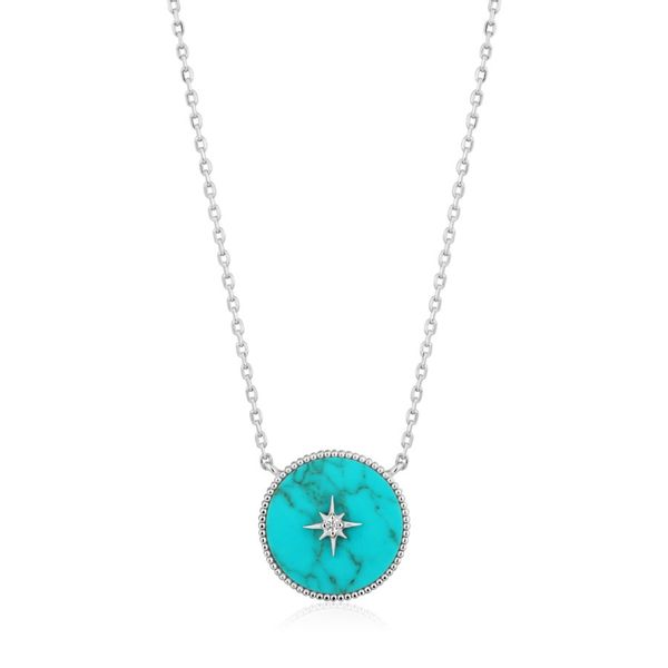 Silver Turquoise Emblem Necklace Miner's North Jewelers Traverse City, MI