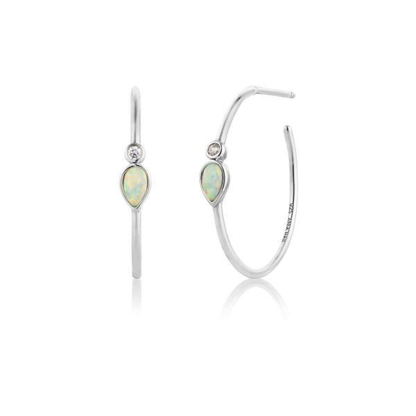 Opal Colour Raindrop Silver Hoop Earrings Miner's North Jewelers Traverse City, MI
