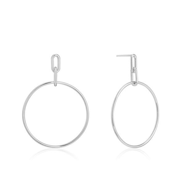 Silver Cable Link Hoop Earrings Miner's North Jewelers Traverse City, MI