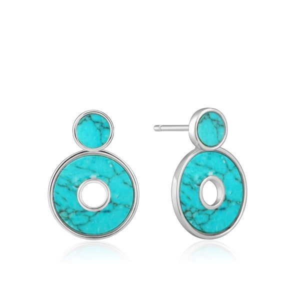 Silver Turquoise Disc Ear Jackets Miner's North Jewelers Traverse City, MI