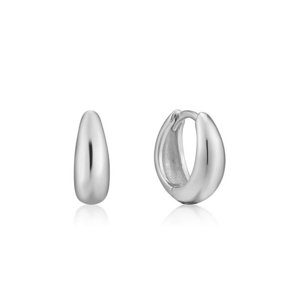 Silver Luxe Huggie Hoop Earrings Miner's North Jewelers Traverse City, MI