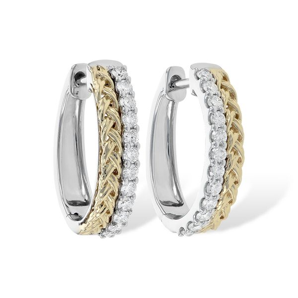 Allison-Kaufman diamond hoop earrings set in 14- Karat yellow and white gold Mitchell's Jewelry Norman, OK