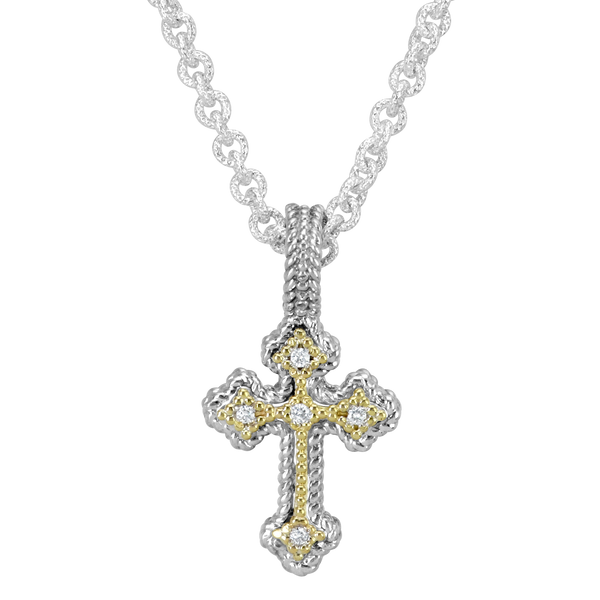 Diamond Cross Pendant set in Sterling Silver and Yellow Gold Mitchell's Jewelry Norman, OK