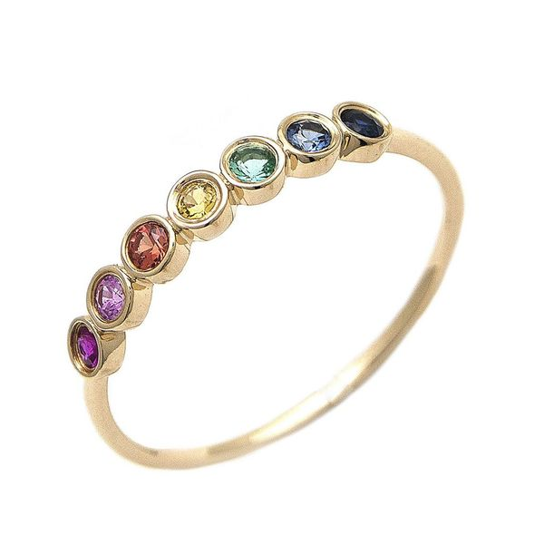 Rainbow Round Stone Gold Ring Mitchell's Jewelry Norman, OK