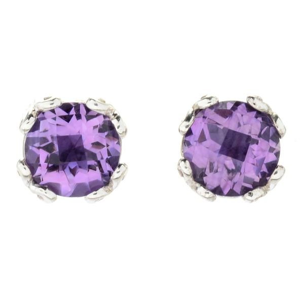 Samuel B. Sterling Silver Stud Earrings With Round Amethysts Mitchell's Jewelry Norman, OK