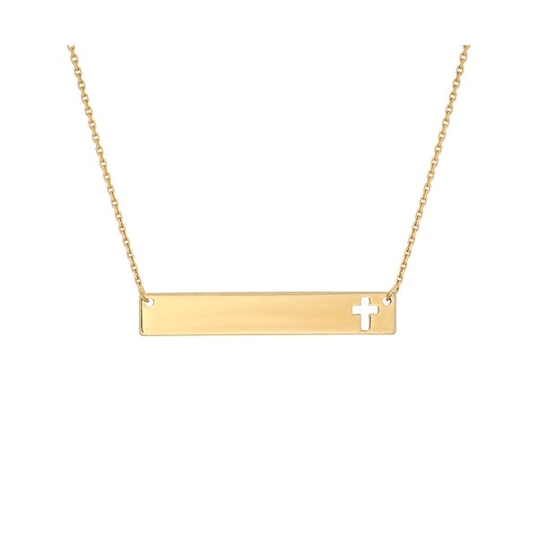 Yellow Gold Cut Out Cross Necklace Mitchell's Jewelry Norman, OK