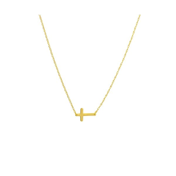 Sideways Mini Cross Necklace in Yellow Gold Mitchell's Jewelry Norman, OK