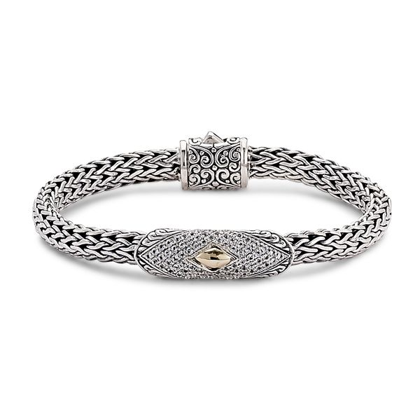 Samuel B. Sterling Silver and 18- Karat Yellow Gold 7 mm  Woven Chain Bar Bracelet With Pave White Topaz Mitchell's Jewelry Norman, OK