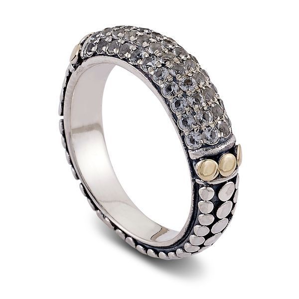 Samuel B. Sterling Silver and 18-Karat Yellow Gold ring featuring Pave White Topaz Mitchell's Jewelry Norman, OK