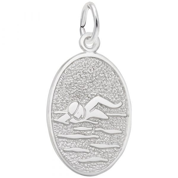 Swimmer Oval Disc Charm Mitchell's Jewelry Norman, OK