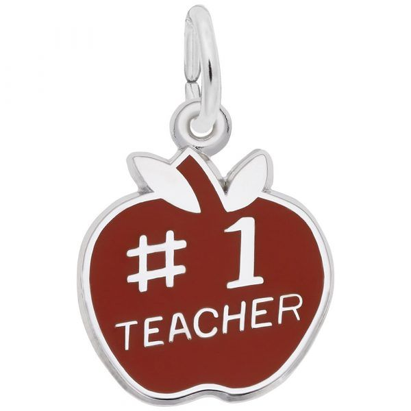 Number One Teacher Apple Charm Mitchell's Jewelry Norman, OK