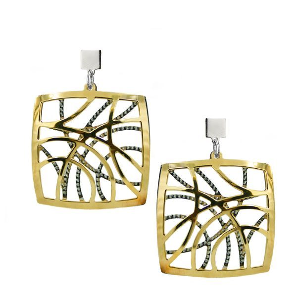 Silver and Gold Plated Square Shaped Earrings Mitchell's Jewelry Norman, OK