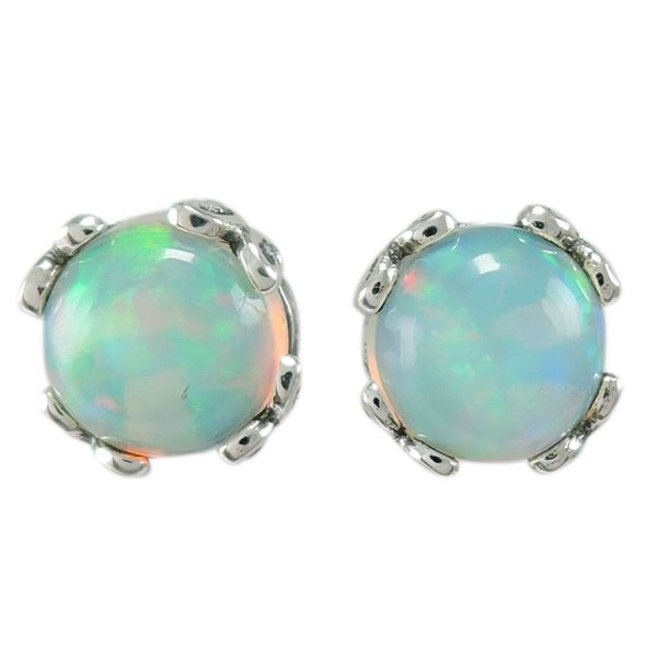 Samuel B. Sterling Silver Stud Earrings With Round Opals Mitchell's Jewelry Norman, OK