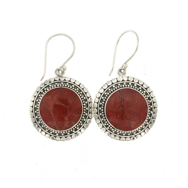Samuel B. Sterling Silver Drop Earrings featuring Round Coral Mitchell's Jewelry Norman, OK
