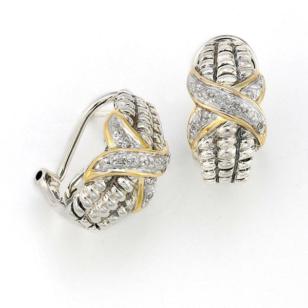 Samuel B. Sterling Silver And 18-Karat Yellow Gold Huggie Earrings featuring Round Diamonds Mitchell's Jewelry Norman, OK