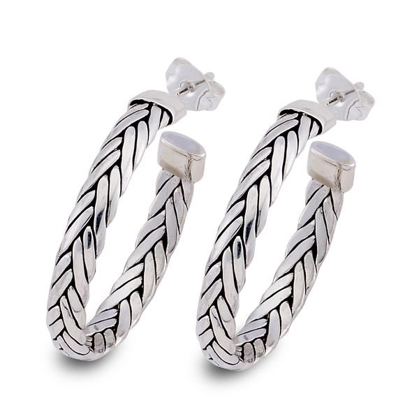 Samuel B. Sterling Silver Hoop Earrings featuring a Woven Design Mitchell's Jewelry Norman, OK