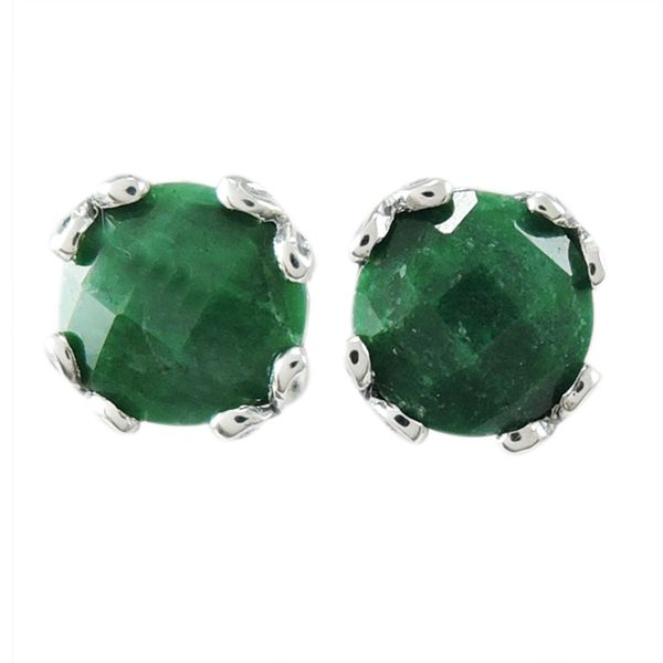 Samuel B. Sterling Silver Stud Earrings featuring Round Emeralds Mitchell's Jewelry Norman, OK