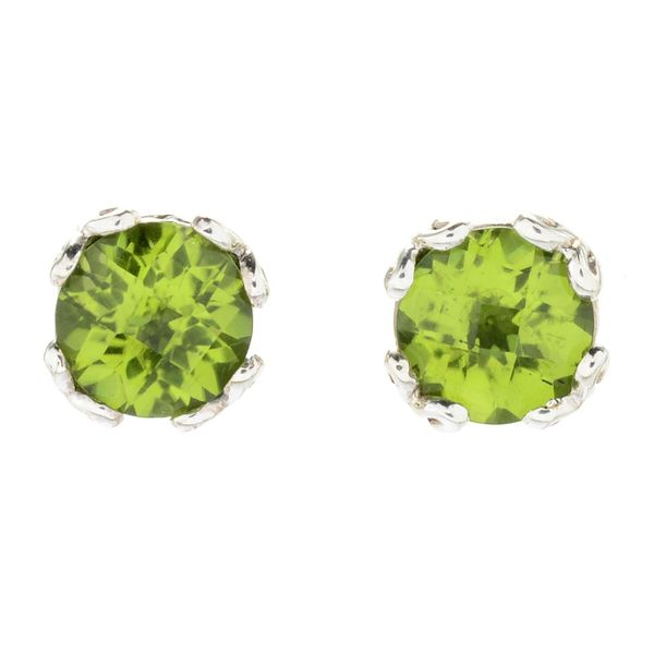 Samuel B. Sterling Silver Stud Earrings featuring Round Peridots Mitchell's Jewelry Norman, OK